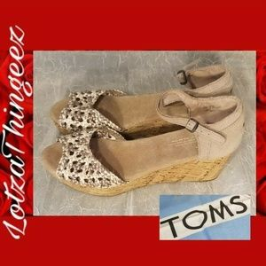 "TOMS Cork 2.5"" Wedge Heels Ankle Strap Weaved 8"